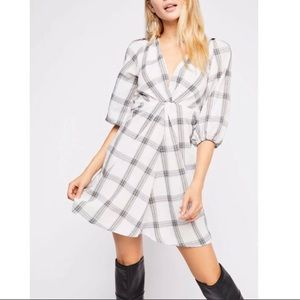NEW Free People plaid V-neck front knot detail
